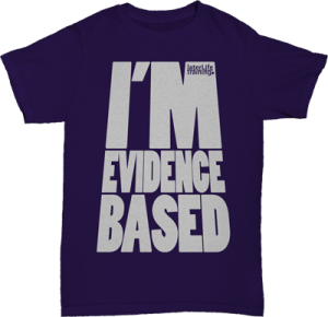 0104 LLT I'm Evidence Based TShirt White on Purple