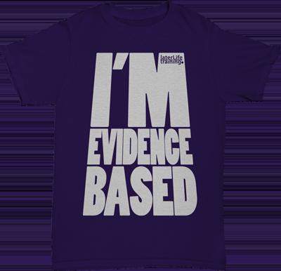 0104 LLT I'm Evidence Based TShirt White on Purple